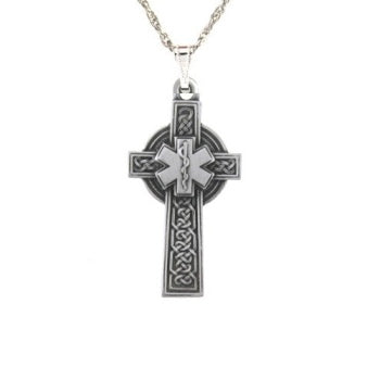 Pewter Celctic Star of Life Cross Pendant