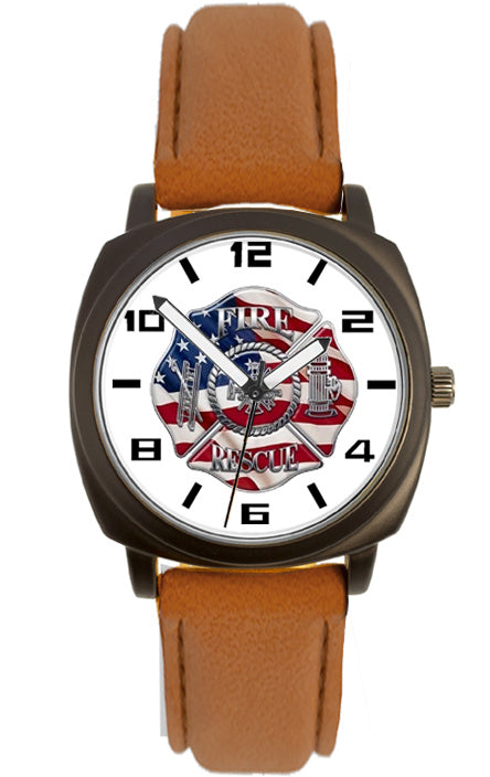 Fire Rescue Brown Leather Band Watch