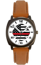 Brown Leather Band Distressed Flag Watch