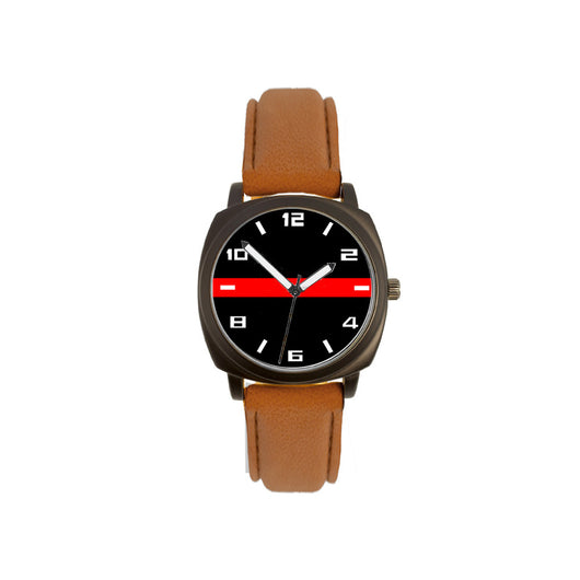 Thin Red Line Brown Leather Band Watch