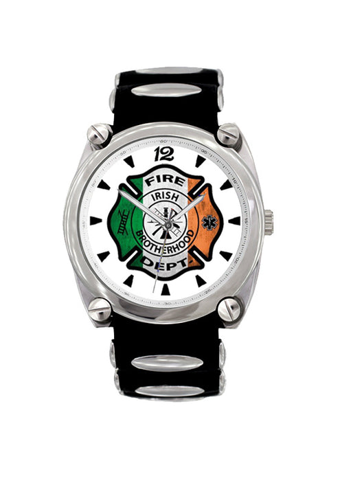 Irish Flag Large Face Fire Dept Dive Watch