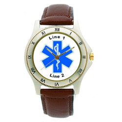 Custom Star of Life Leather Band Watch