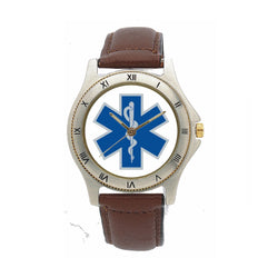 Star of Life Leather Band Custom Watch