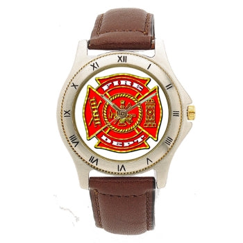 Fire Dept Leather Band Engravable Watch