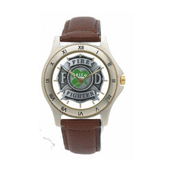 Irish Firefighter Leather Band Watch