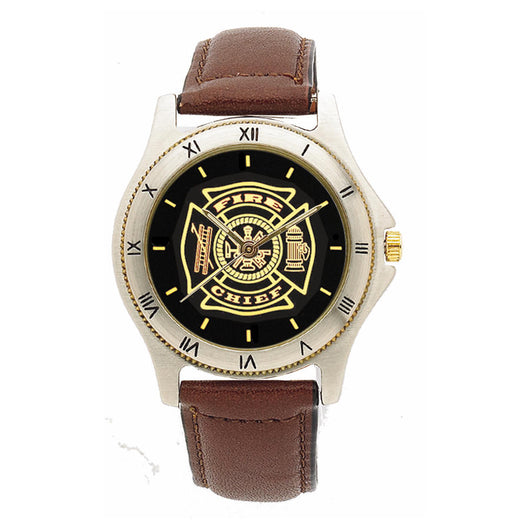 Fire Chief Black Face Medallion Leather Band Watch