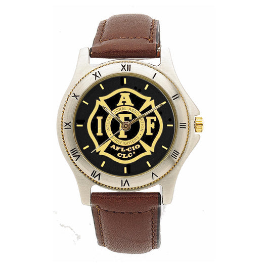 IAFF Black Face Leather Band Watch