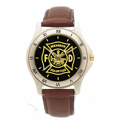 Volunteer Fire Dept Medallion Leather Band  Watch