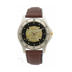 Fire Dept Medallion Leather Band Engravable Watch