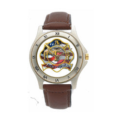 Retired IAFF Leather Band Engravable Watch