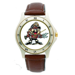 Firefighter Tasmanian Devil Leather Band Engravable Watch