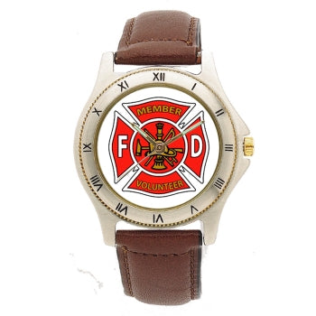 Volunteer Leather Band Engravable Watch