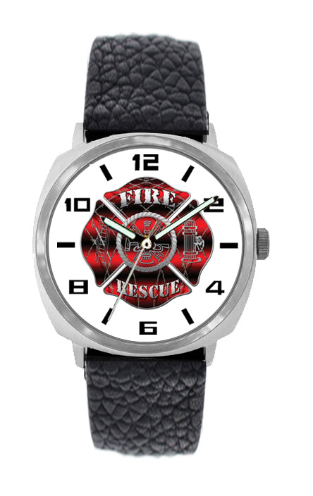 Large Face Firefighter Leather Band Watch