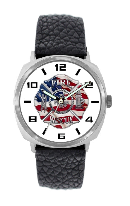 Fire Rescue Large Face Leather Watch