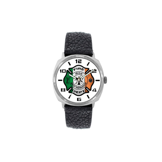 Irish Flag Large Face Fire Fighter Leather Band Watch