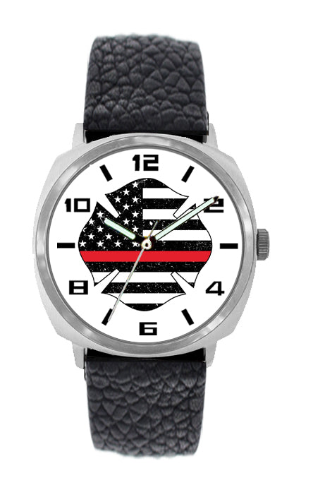 Large Face Distressed Flag Leather Watch