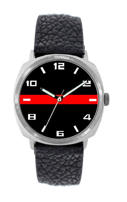 Thin Red Line Leather Band Watch