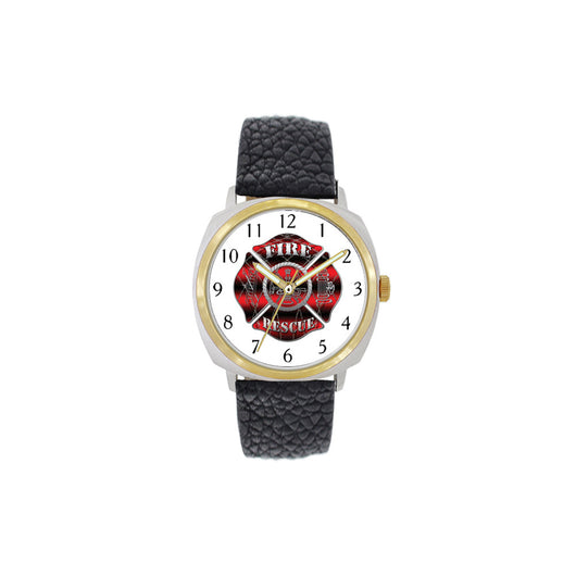 Firefighter Large Face Leather Band with Gold Accents