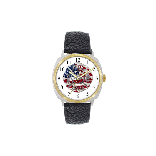 Fire Rescue Flag Large Face Leather Watch with Gold Accents