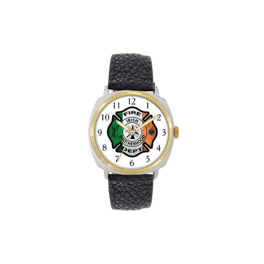 Irish Firefighter Large Face Leather Watch with Gold Accents
