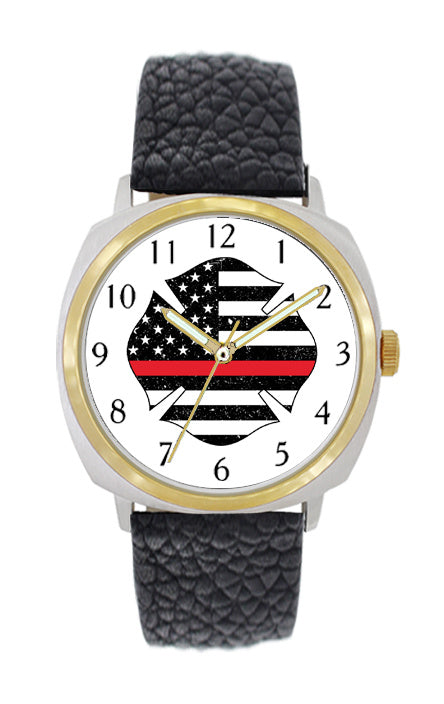 Thin Red Line Flag Large Face Leather Watch with Gold Accents