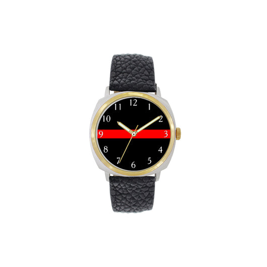 Thin Red Line Large Face Leather Watch with Gold Accents