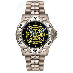 Volunteer  Fire Dept Stainless Steel Medallion Watch
