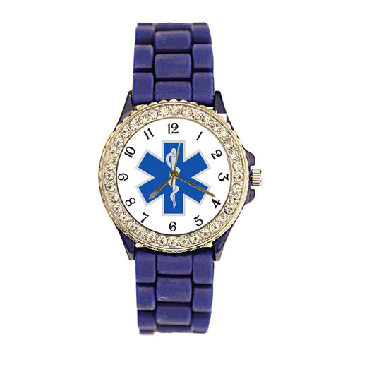 Star of Life Blue Silicone Band Watch