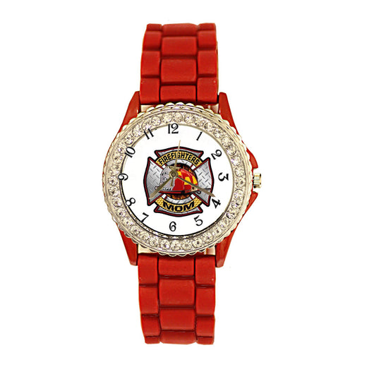 Firefighters Mom Red Silicone Band Watch