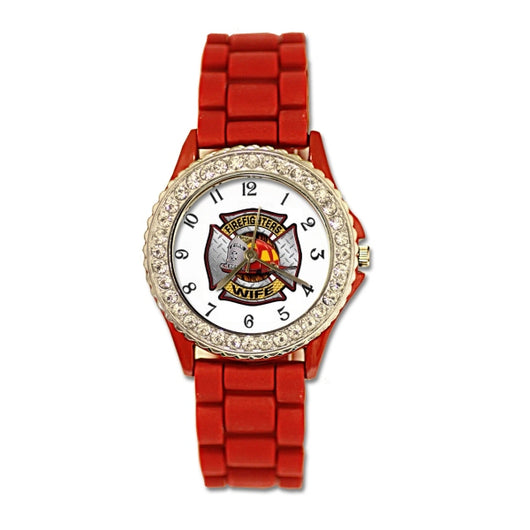 Firefighters Wife Red Silicone Band Watch