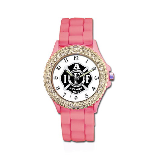 IAFF Silver Black Silicone Band Pink Watch