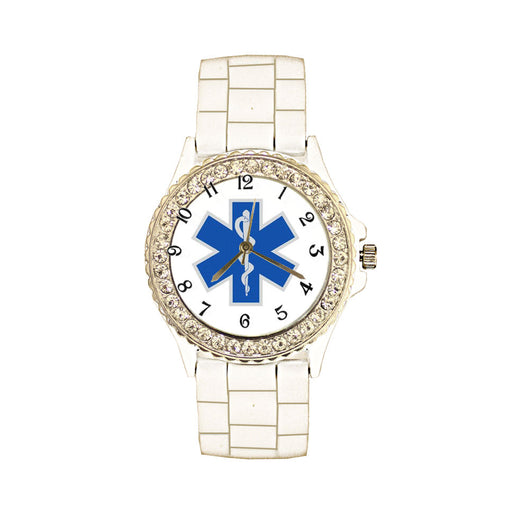 Star of Life White Silicone Band Watch