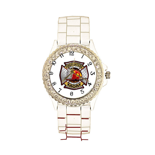 Firefighters Mom White Silicone Band Watch