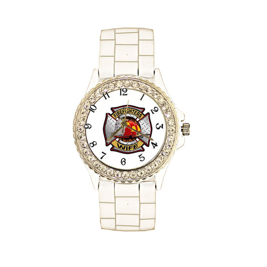 Firefighters Wife White Silicone Band Watch