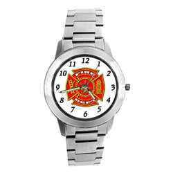 Fire Dept Silver Engravable Watch