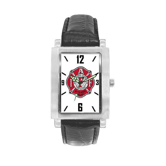 IAFF Silver Red Engravable Watch with Black Leather Band