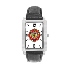 IAFF Gold Red Engravable Watch with Black Leather Band