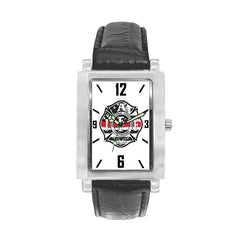 WQJ-180 IAFF Thin Red Line  Watch with Black Leather Band