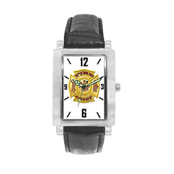 Fire Chief Black Leather Band Engravable Watch