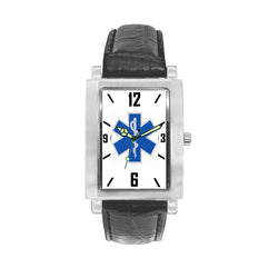 Star of Life Engravable Watch with Black Leather Band