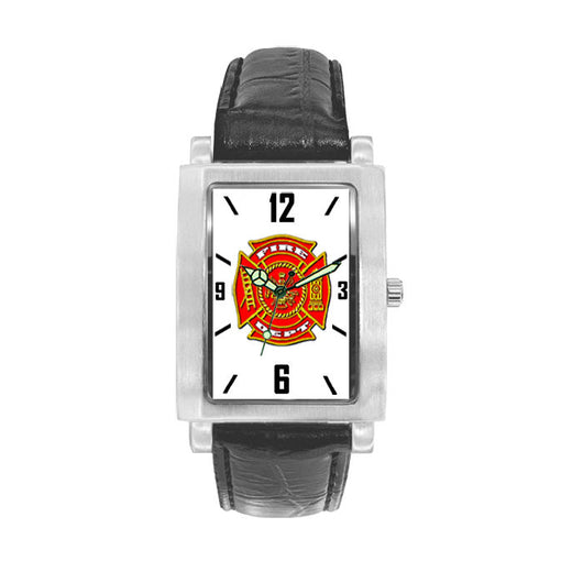 Fire Dept Black Leather Band Engravable Watch