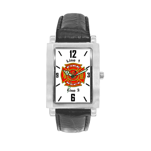 Custom Face Fire Dept  Watch with Black Leather Band