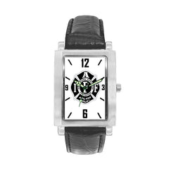 IAFF Silver Black Engravable Watch with Black Leather Band
