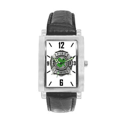 Irish Firefighter Engravable Watch with Black Leather Band