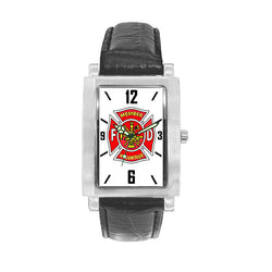 Volunteer Firefighter  Watch with Black Leather Band