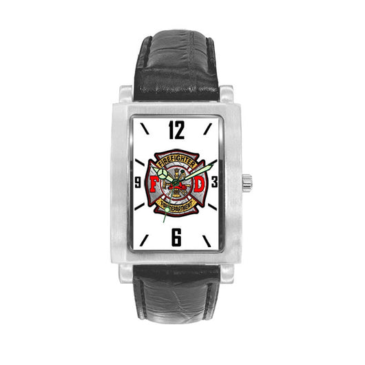 Firefighter FD Black Leather Engravable Watch