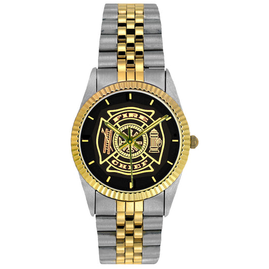 Fire Chief Medallion 2-Tone Engravable Watch