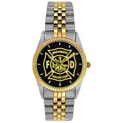 Volunteer Fire Dept Medallion 2-Tone Watch