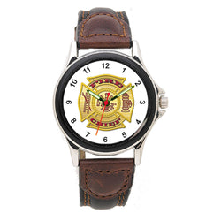 Fire Chief Leather Band Engravable Watch
