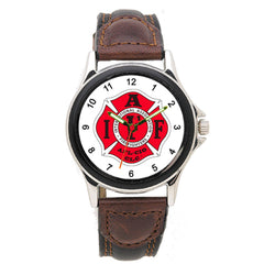 IAFF Leather Band Engravable Watch